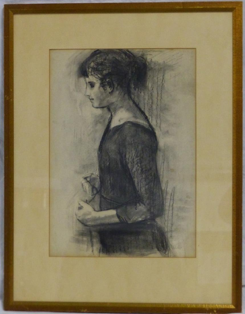 LAMBRO AHLAS CHARCOAL PORTRAIT OF YOUNG GIRL