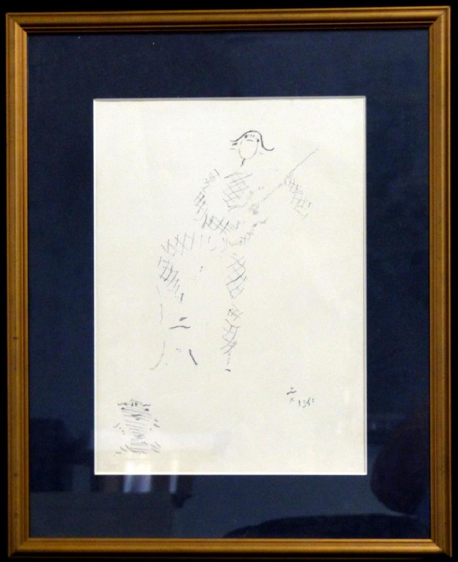 JEAN COCTEAU LITHOGRAPH HARLEQUIN PLAYING GUITAR