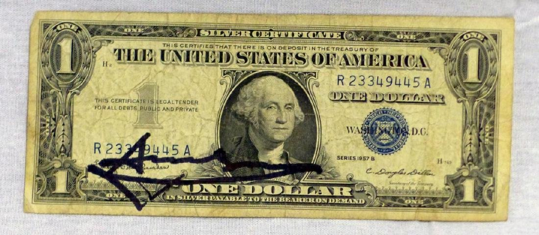 ANDY WARHOL SIGNED ONE DOLLAR SILVER CERTIFICATE