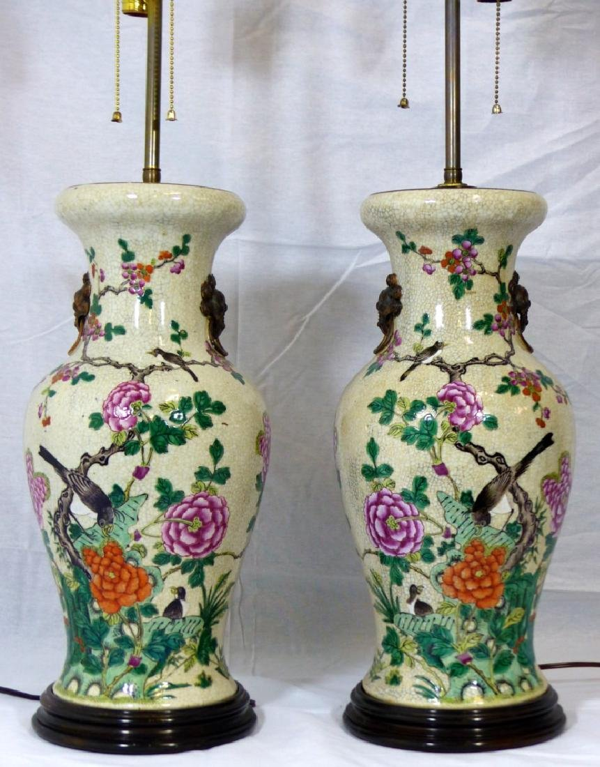 PR CHINESE CRACKLE GLAZE FLORAL VASES / LAMPS