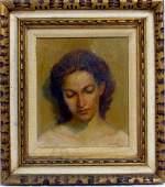 JOE MILLER OIL PAINTING / CANVAS PORTRAIT OF WOMAN