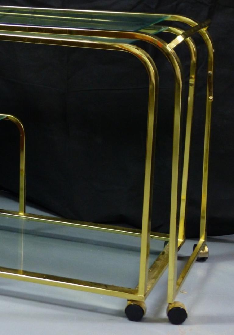 MILO BAUGHMAN FOR DIA BRASS & GLASS FOLDING CART - 3