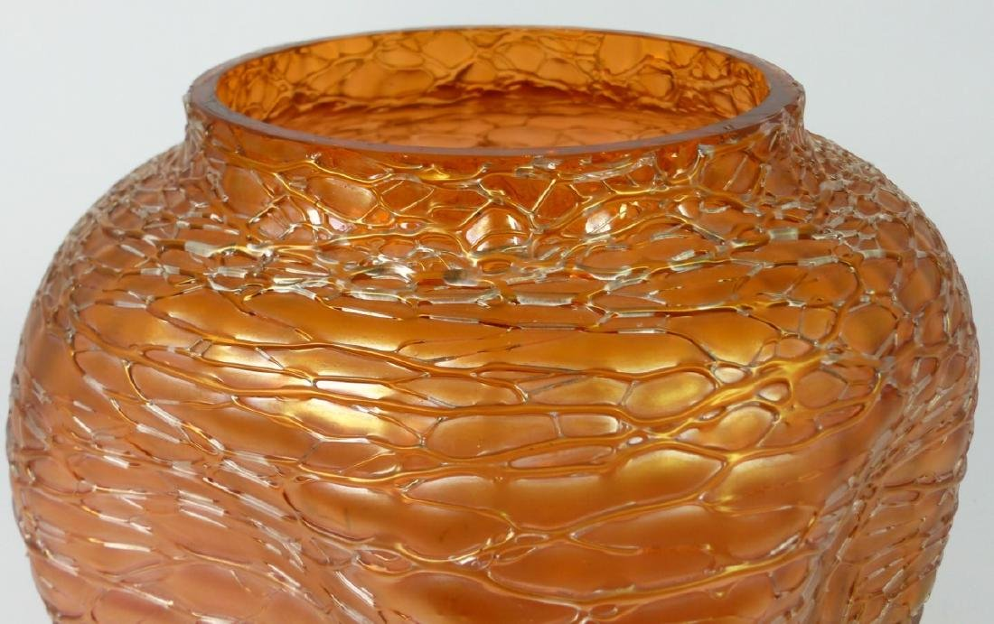 LOETZ CZECH CRACKLE ART GLASS VASE - 9