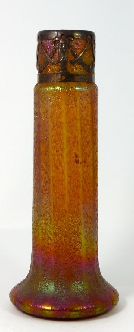 LOETZ CZECH IRIDESCENT ART GLASS VASE w MOUNT