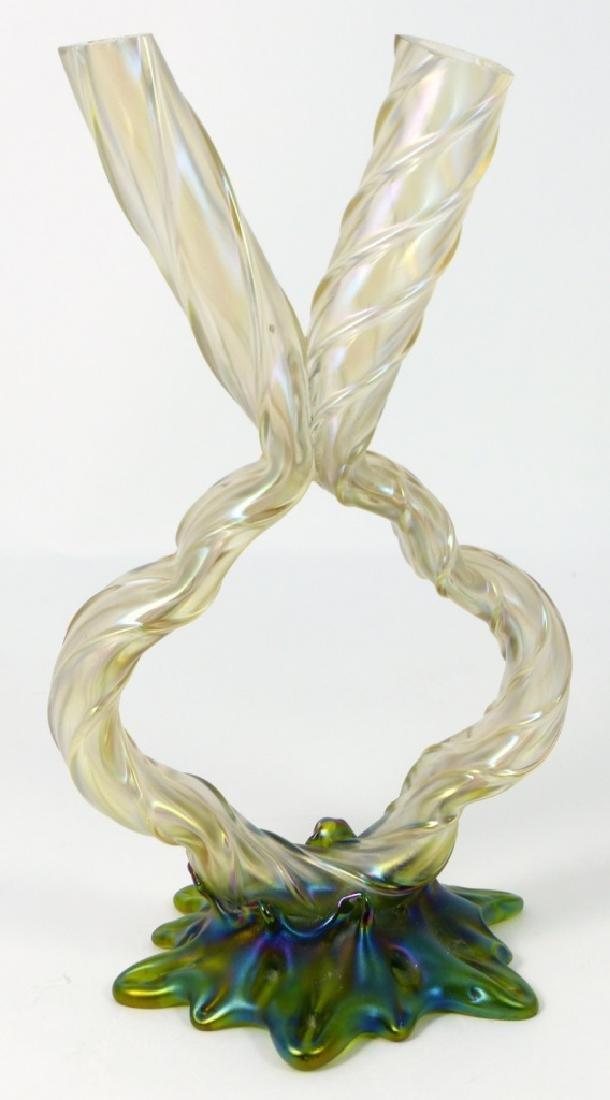 LOETZ CZECH IRIDESCENT ART GLASS DOUBLE BUD VASE