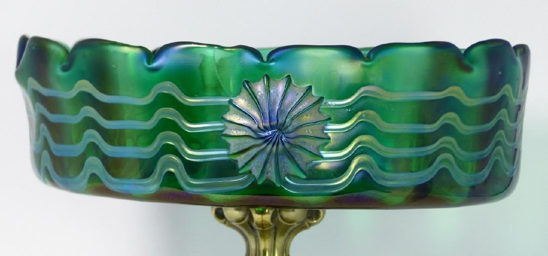 LOETZ CZECH ART GLASS COMPOTE w ORMOLU MOUNT - 2