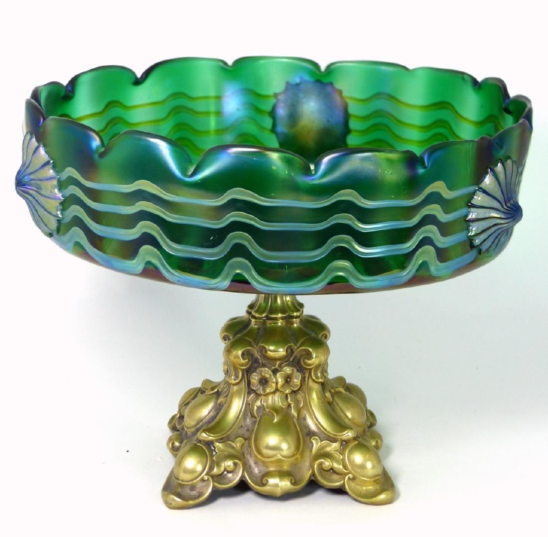 LOETZ CZECH ART GLASS COMPOTE w ORMOLU MOUNT - 5