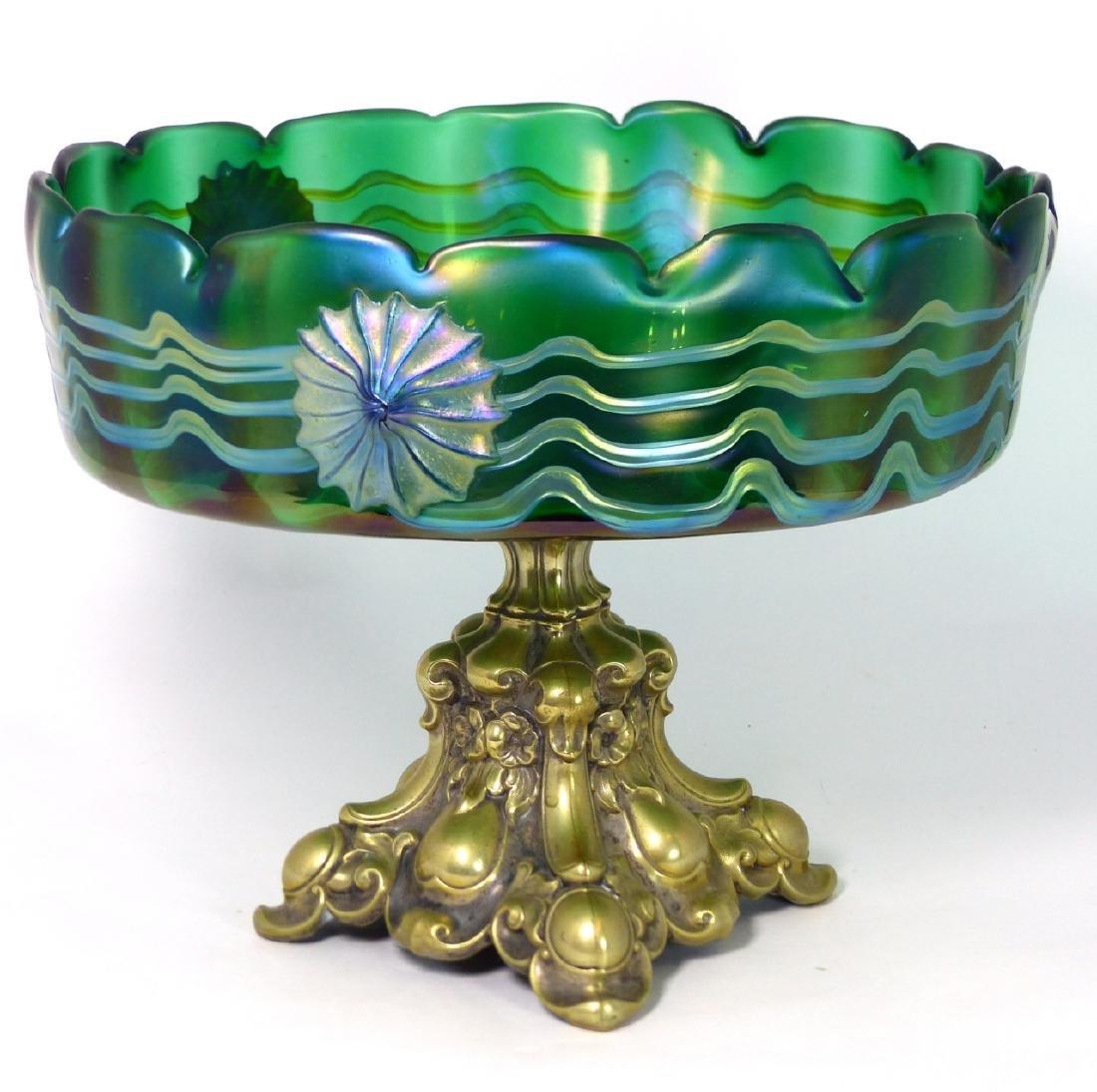 LOETZ CZECH ART GLASS COMPOTE w ORMOLU MOUNT - 6