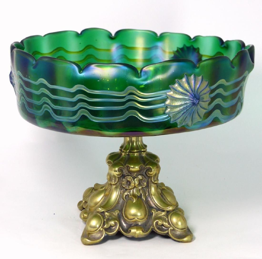 LOETZ CZECH ART GLASS COMPOTE w ORMOLU MOUNT - 7