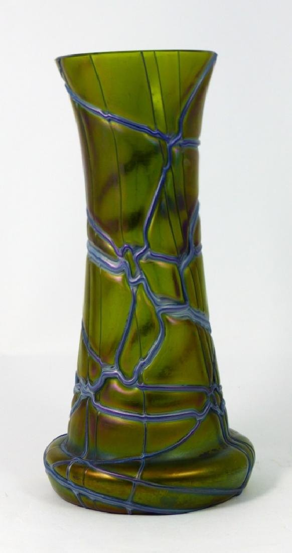 LOETZ CZECH IRIDESCENT THREADED GLASS VASE - 4