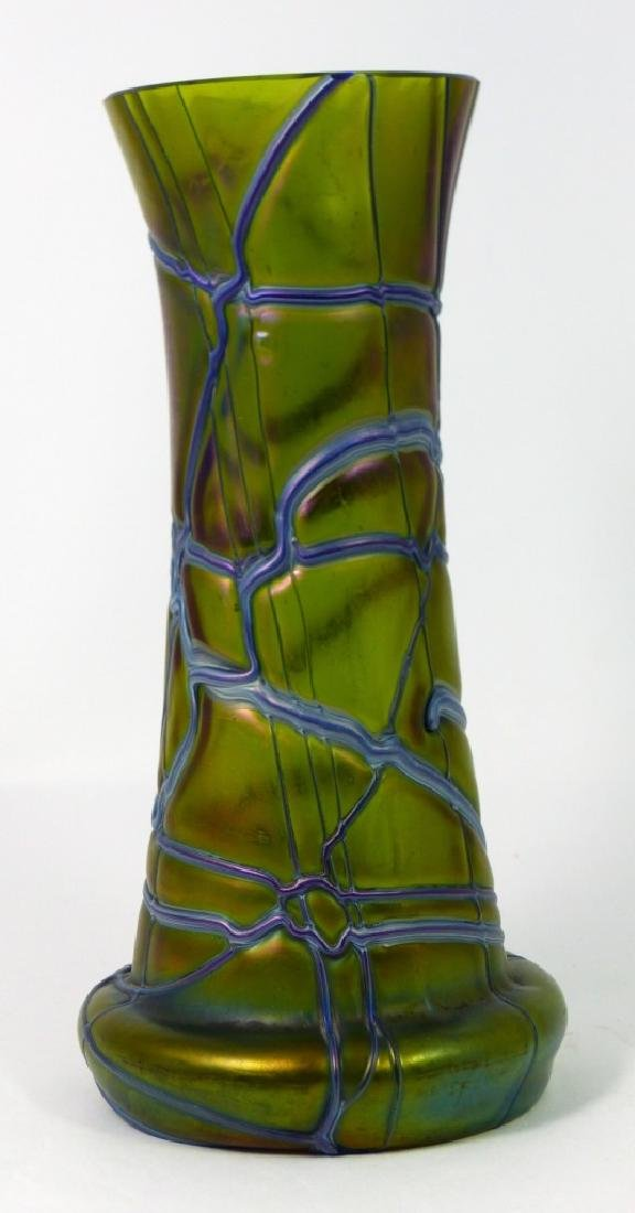 LOETZ CZECH IRIDESCENT THREADED GLASS VASE - 5