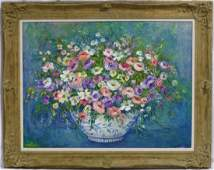 EDITH MONTLACK OIL PAINTING ON CANVAS FLOWERS