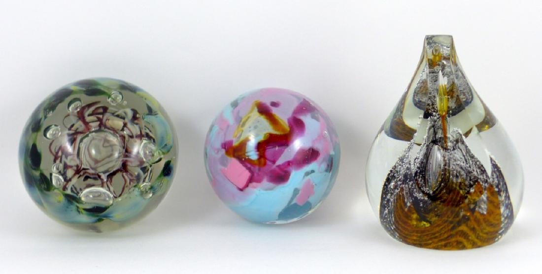 3pc ART GLASS PAPERWEIGHTS SIGNED