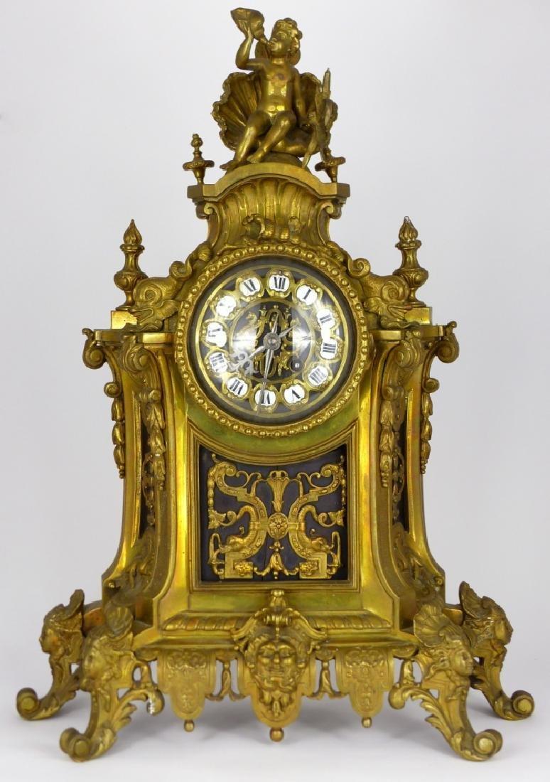 19th C LOUIS XVI STYLE GILT BRONZE MANTEL CLOCK