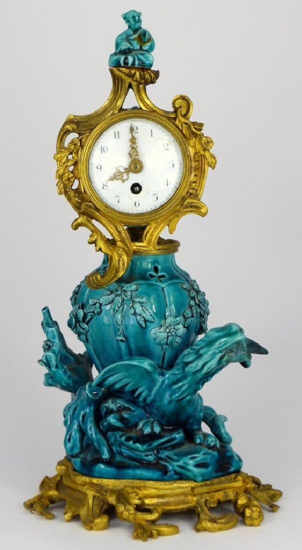 19th C FRENCH ORMOLU & CHINESE PORCELAIN CLOCK