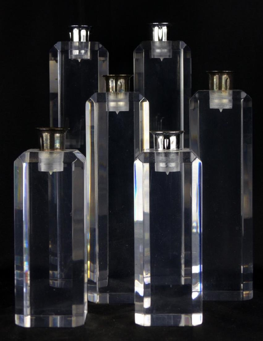 6pc VINTAGE LUCITE CANDLESTICK HOLDERS