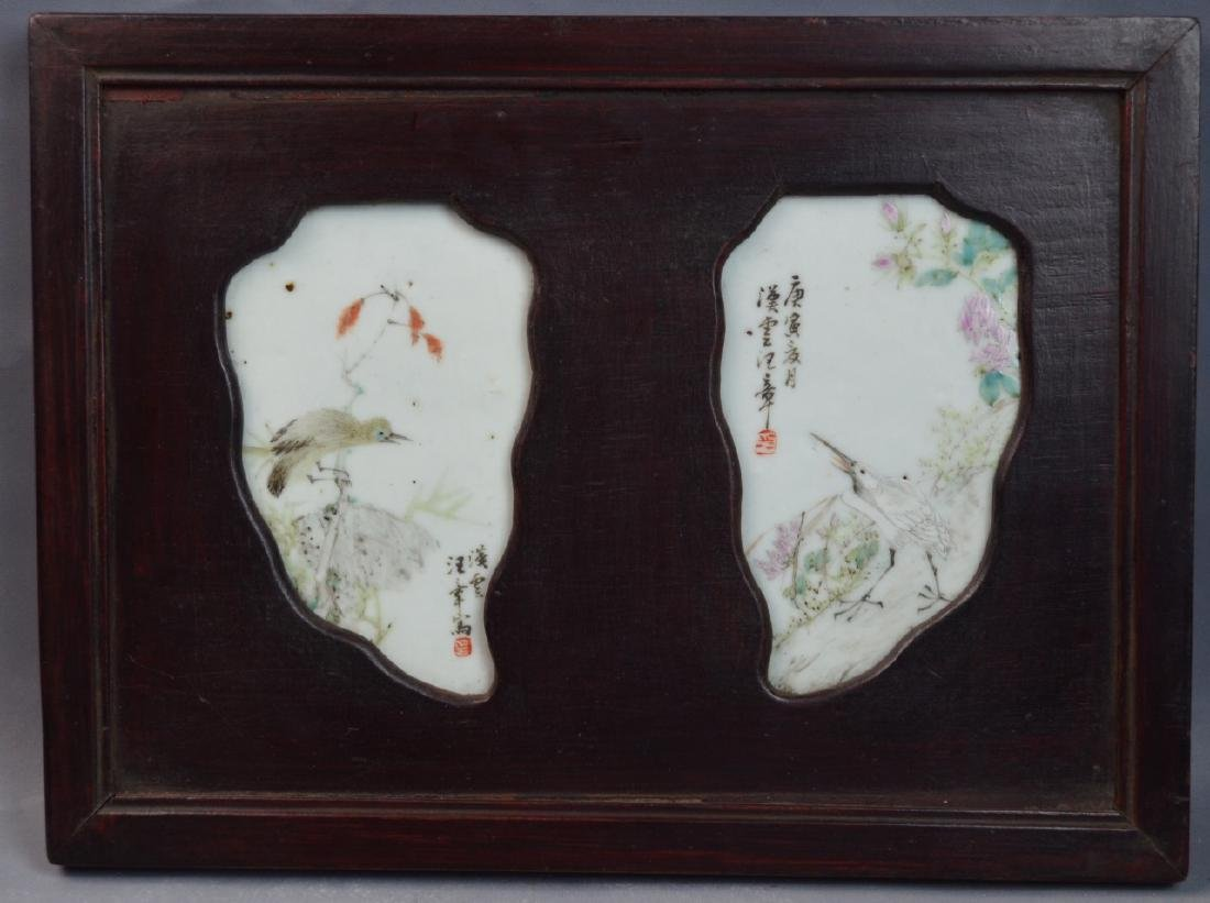 PR CHINESE FAMILLE ROSE LEAF-FORM PORCELAIN PLAQUE