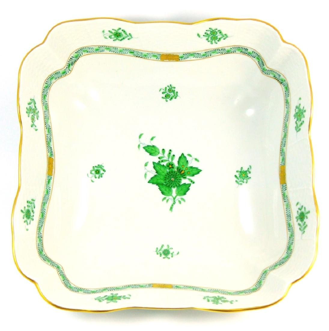 HEREND CHINESE BOUQUET GREEN LARGE SQUARE BOWL