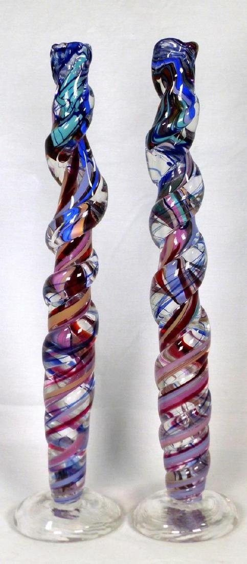 PR DAVID GOLDHAGEN SPIRAL ART GLASS CANDLESTICKS