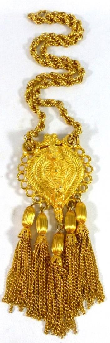 JUDITH LEIBER VINTAGE GOLD-TONE NECKLACE w PENDANT