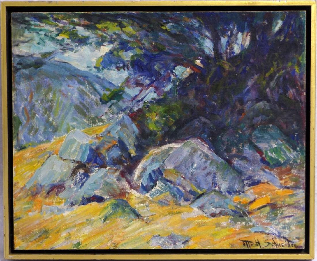 OTTO H SCHNEIDER OIL PAINTING ON BOARD LANDSCAPE