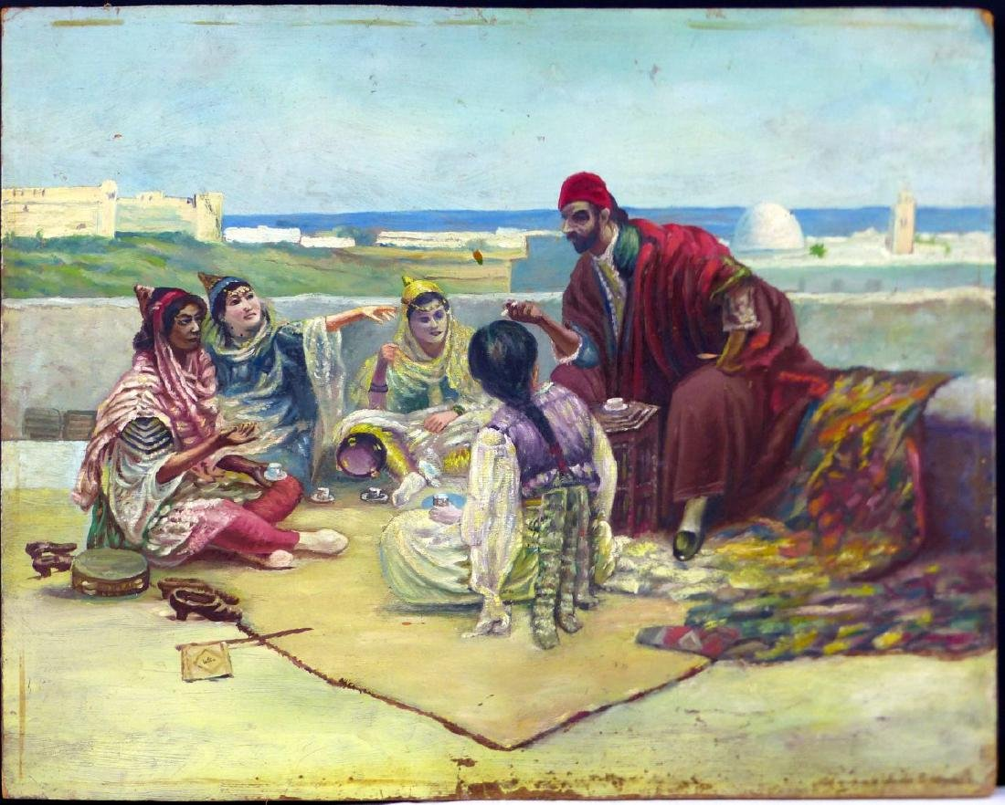 IBRAHIM CALLI ORIENTALIST OIL PAINTING ON BOARD