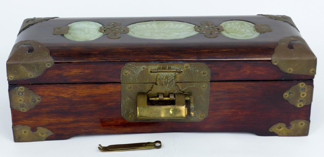 CHINESE JEWELRY BOX w JADE PLAQUES & BRASS MOUNTS