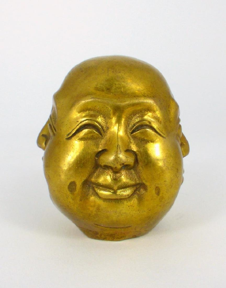 FOUR FACES OF BUDDHA HINDU BRASS SCULPTURE