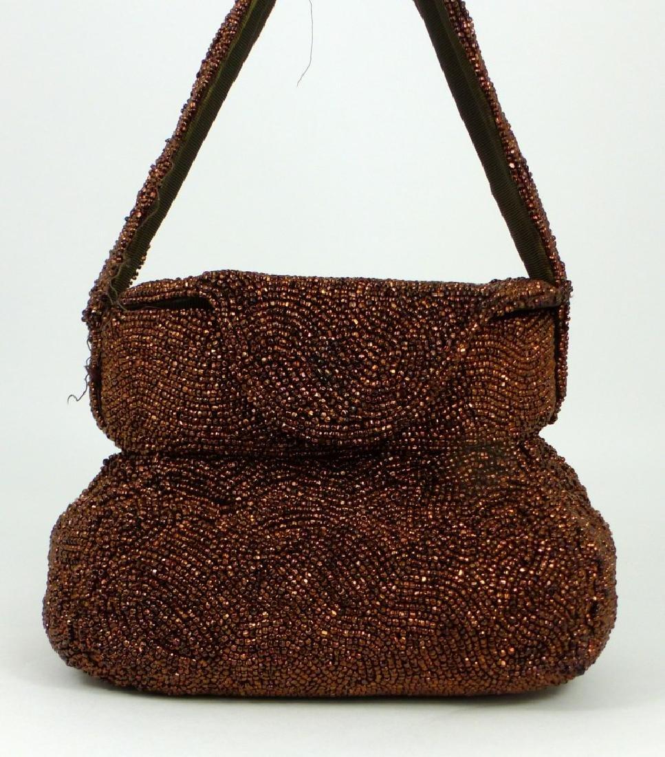 K&G CHARLET BRONZE BEADED EVENING BAG