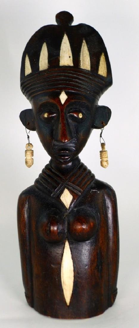 AFRICAN CARVED WOOD BUST w BONE INLAY