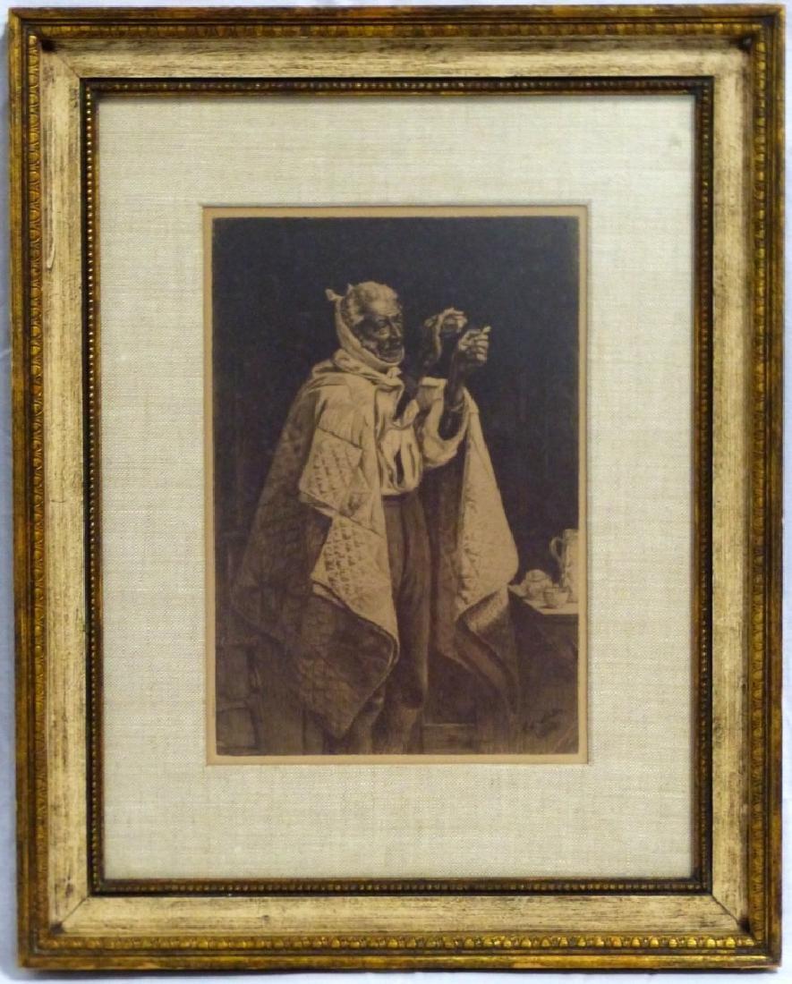 THOMAS WATERMAN WOOD ETCHING OF OLD MAN