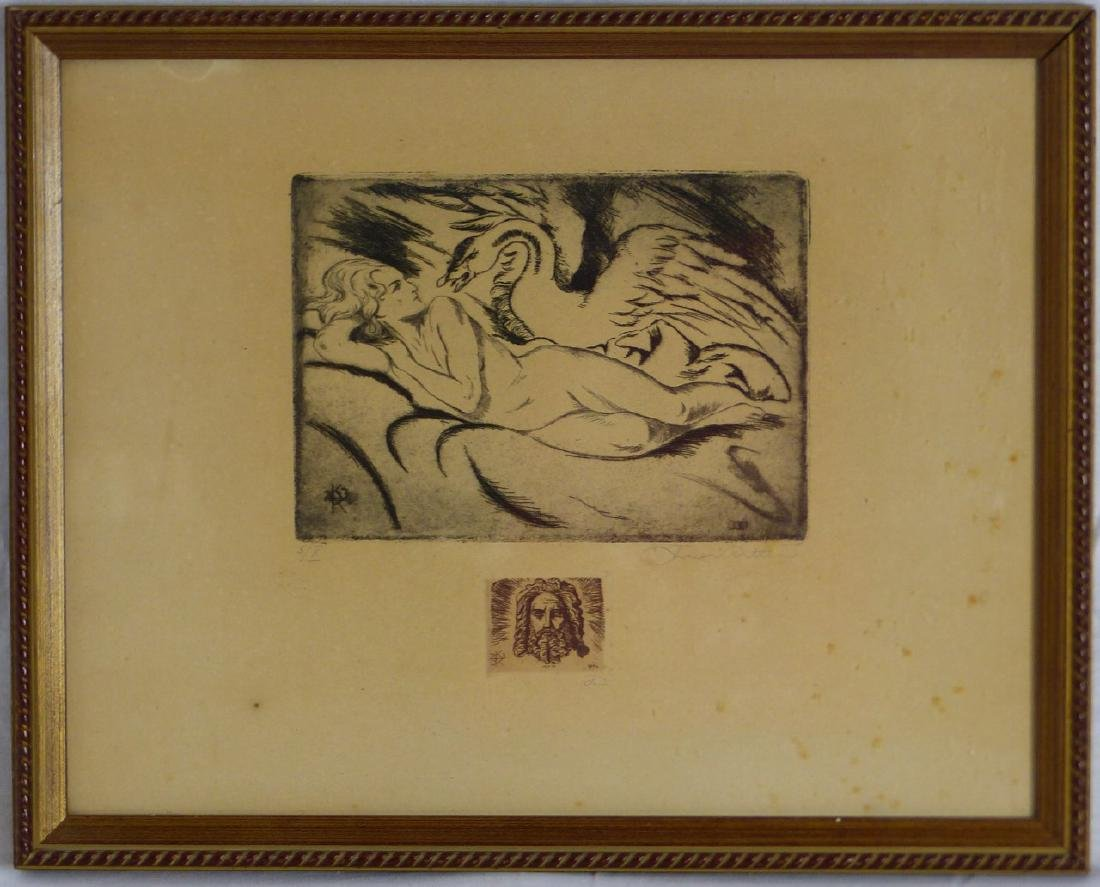 KARL RITTER ETCHING OF NUDE w SWAN