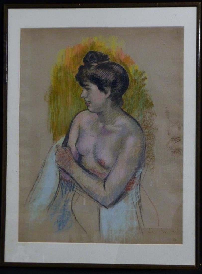 ERNEST ROUART PASTEL ON PAPER OF NUDE