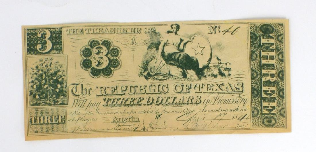 REPUBLIC OF TEXAS THREE DOLLAR CURRENCY NOTE