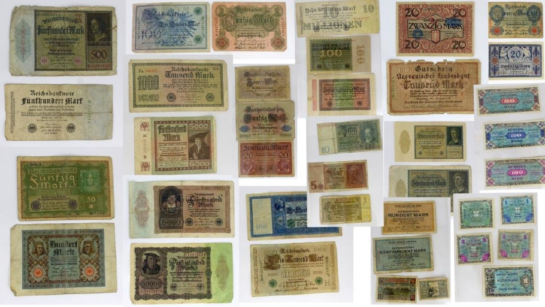39pc GERMAN CURRENCY BANK NOTES 1908-1944