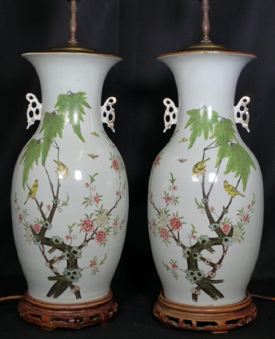 PR CHINESE BALUSTER VASE LAMPS w BIRDS & FLOWERS