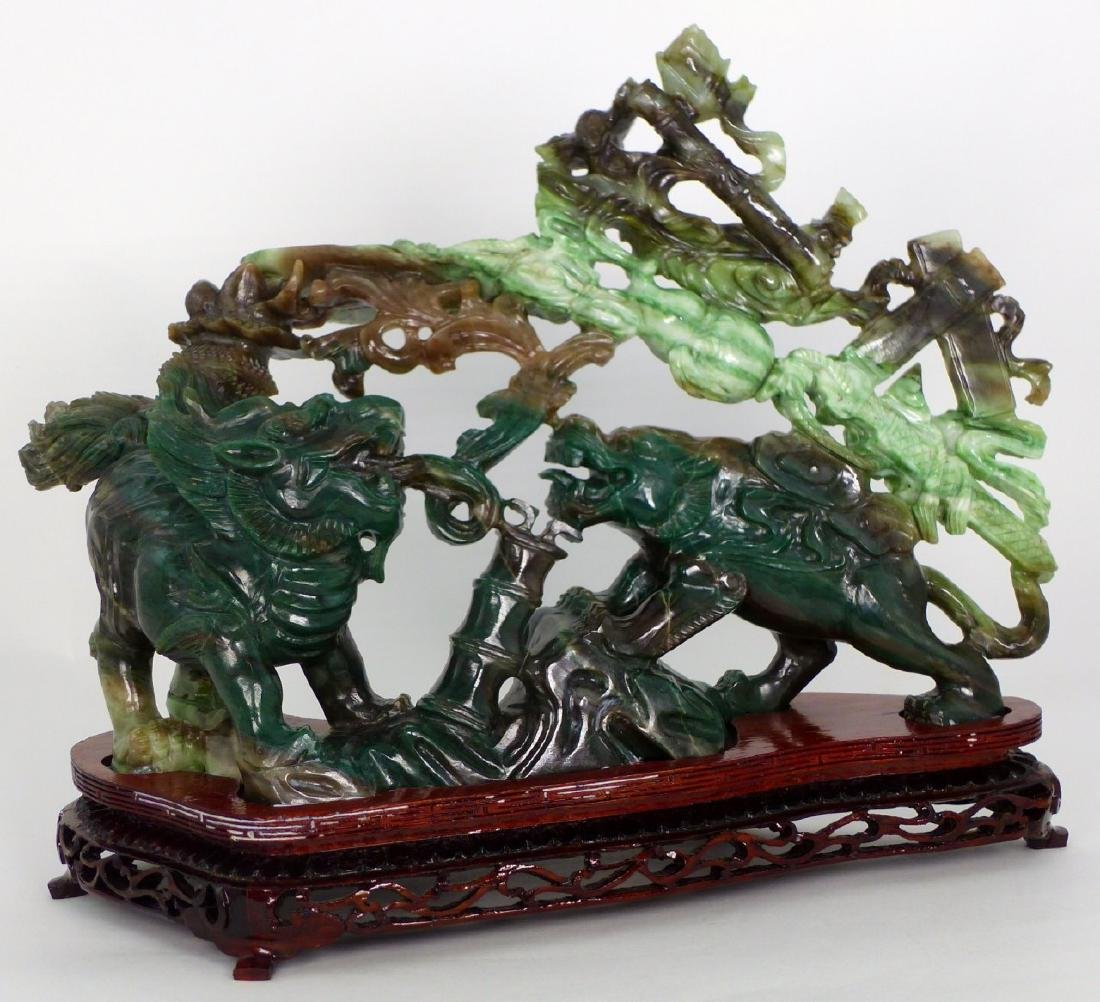 CHINESE JADE CARVING FOO DOG & BEAST