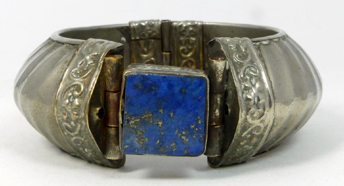 INDIAN SILVER & LAPIS HINGED CUFF BRACELET