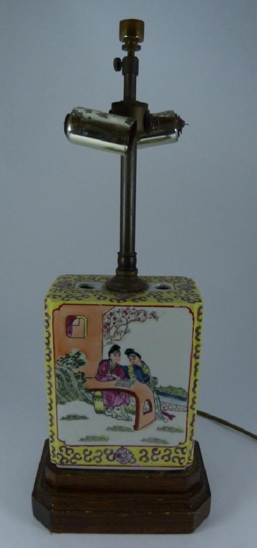 CHINESE YELLOW GROUND PORCELAIN LAMP