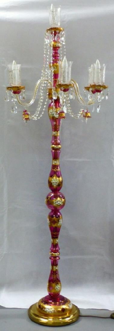 MOSER BOHEMIAN GILT CRANBERRY GLASS FLOOR LAMP