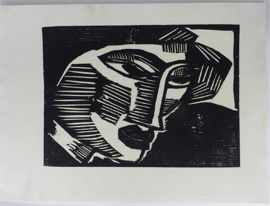 KARL SCHMIDT-ROTLUFF 'WOMAN'S HEAD' WOODCUT
