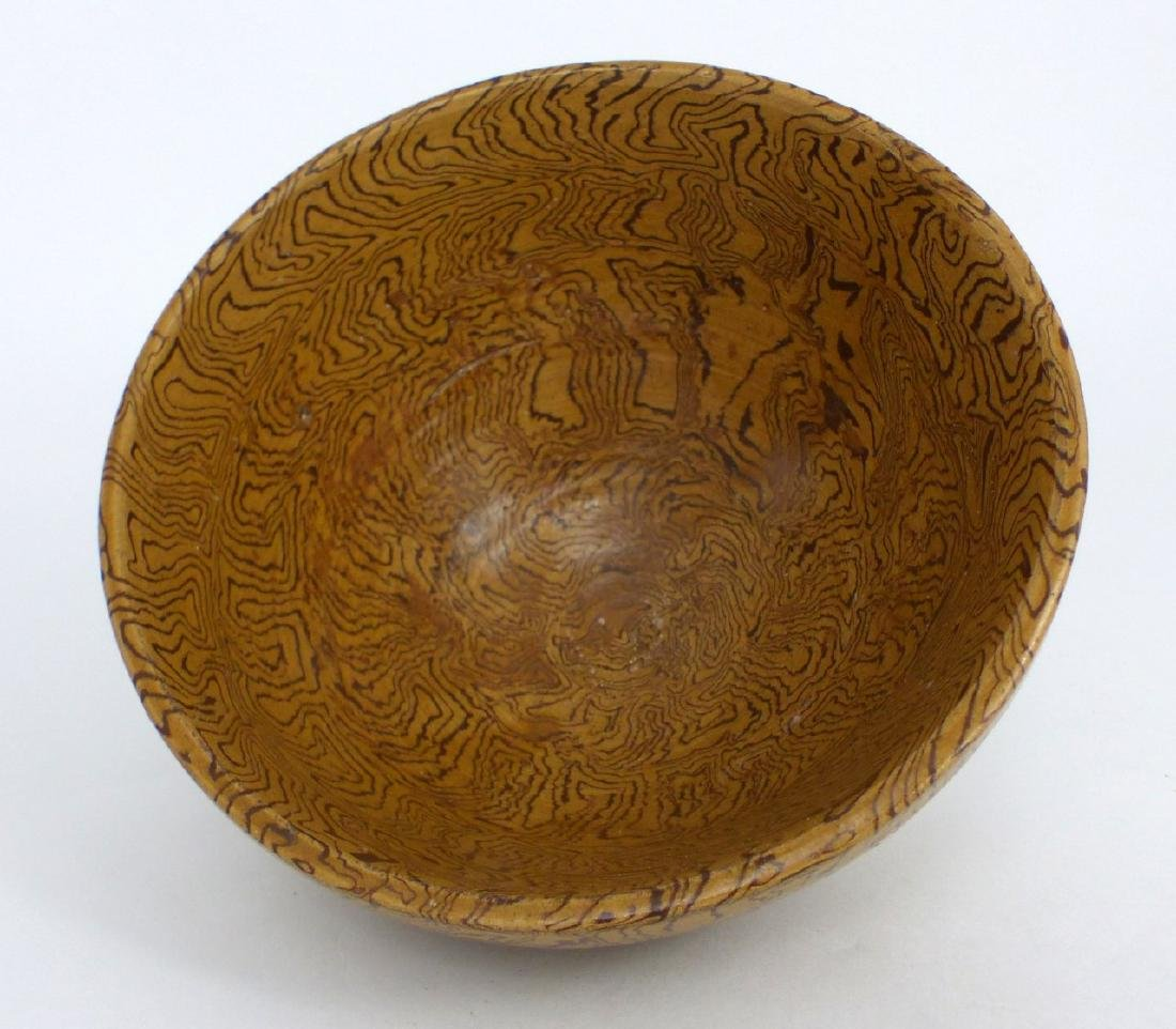 CHINESE FAUX BOIS GLAZED PORCELAIN BOWL