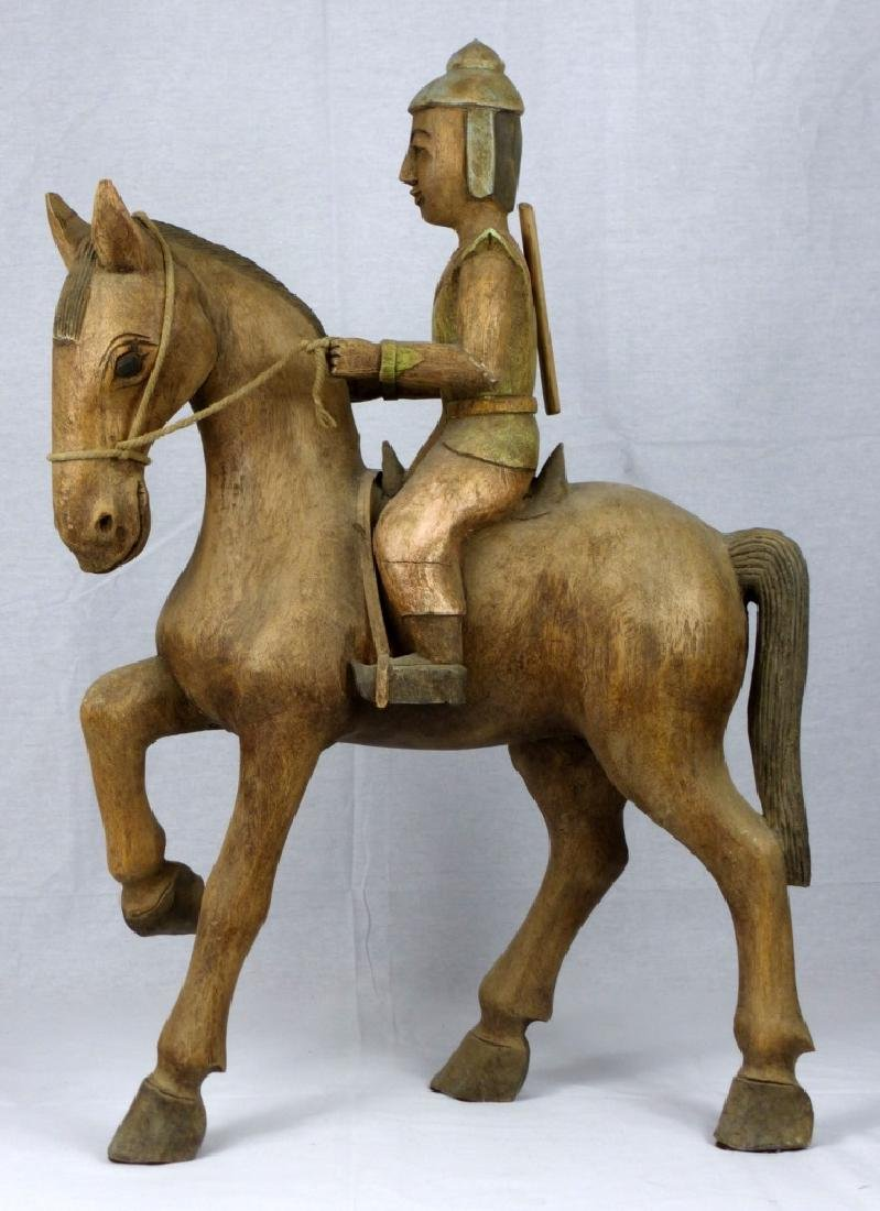 CHINESE CARVED WOOD HORSE & RIDER