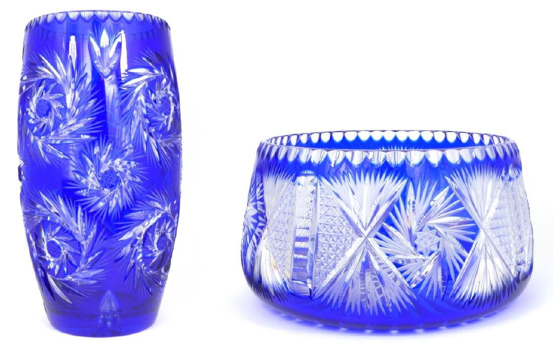 2pc COBALT CUT TO CLEAR CRYSTAL VASE & BOWL