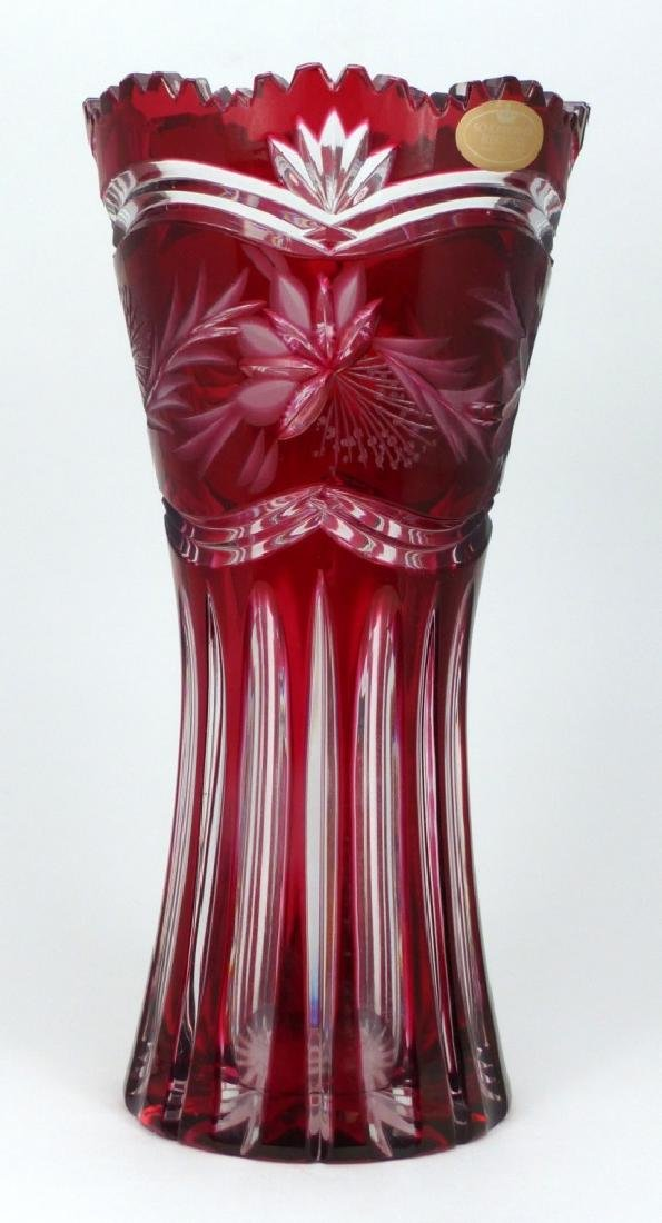 CRANBERRY CUT TO CLEAR CRYSTAL VASE