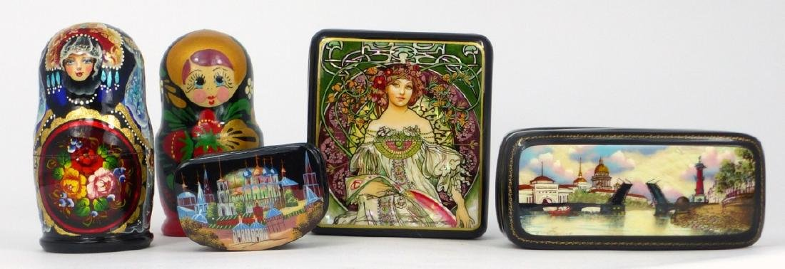 5pc RUSSIAN LACQUER BOXES & NESTING DOLLS