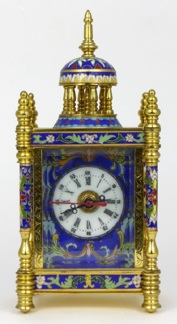 CHINESE CLOISONNE & BRASS QUARTZ SHELF CLOCK