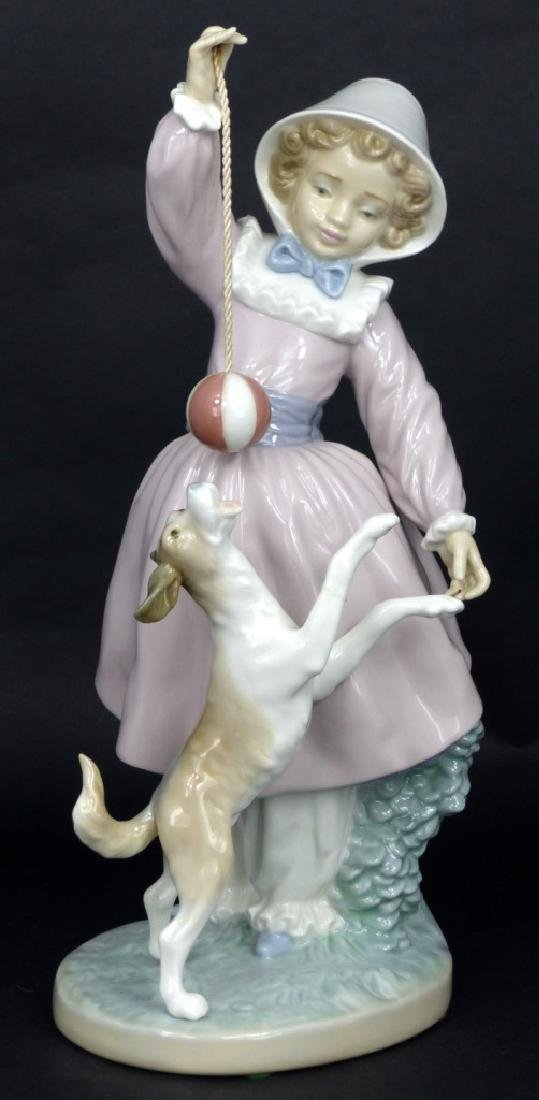 LLADRO GIRL, DOG & BALL PORCELAIN FIGURINE