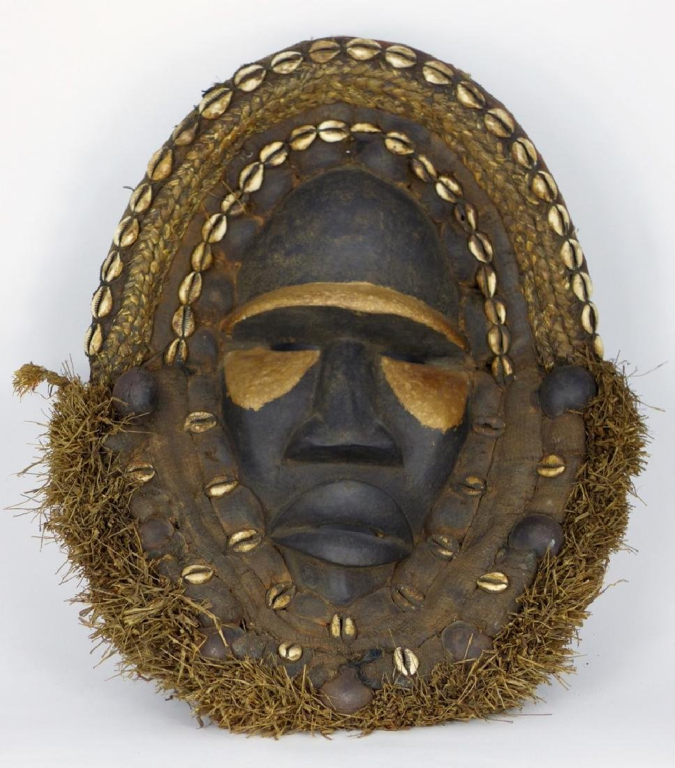 AFRICAN CONGO CARVED WOOD MASK w COWRY SHELLS