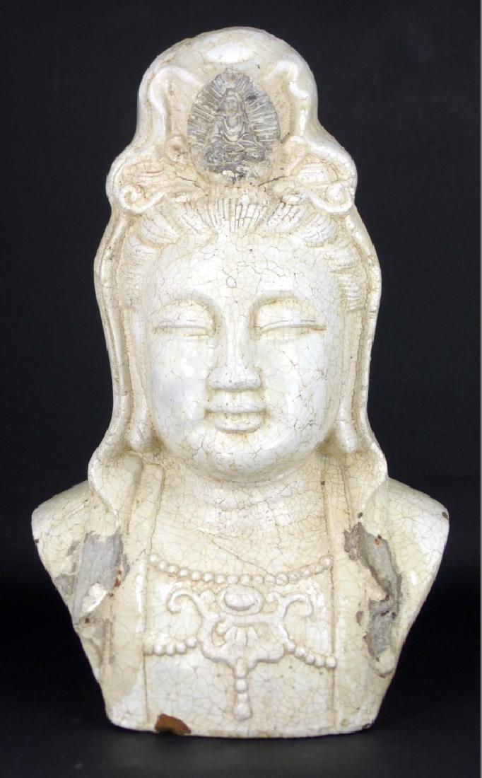 CHINESE CRACKLE GLAZE POTTERY BUDDHA BUST